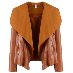 Autum Fashion Pure Color Lapel Belt Short Coat