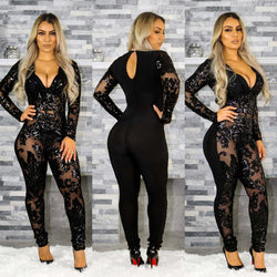 Black Lace Up Long Sleeve Scoop Long Slim Jumpsuit
