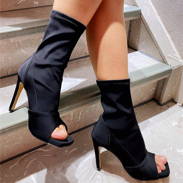 Fish Mouth Elastic Hollow Boots