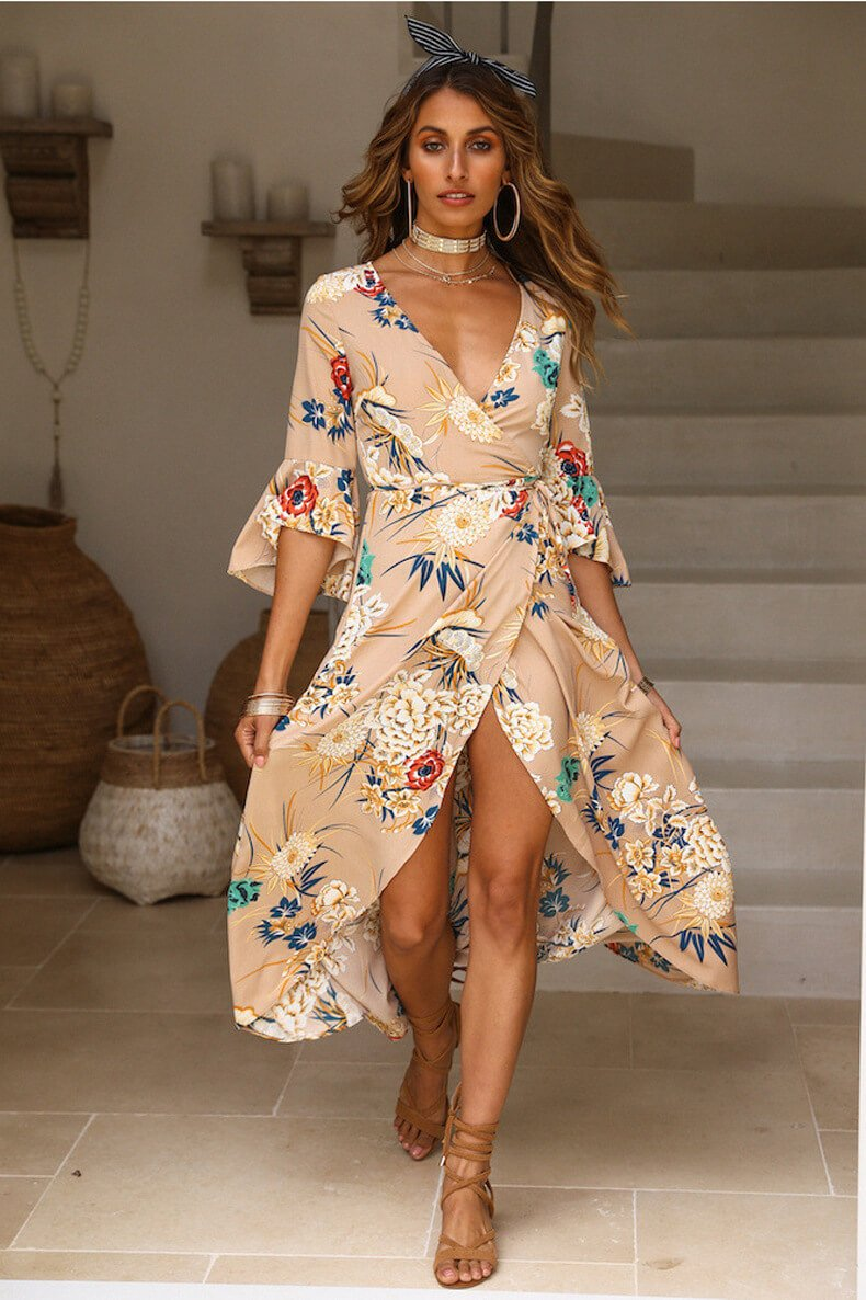 Stripe 3/4 Sleeves V-neck Loose Split Print Beach Dress