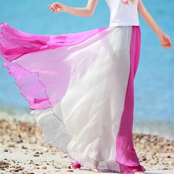 Gradient High Waist Long Pleated Skirt
