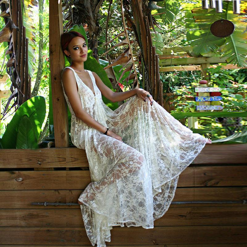 Transparent V-neck Lace Long Dress Bikini Cover UP