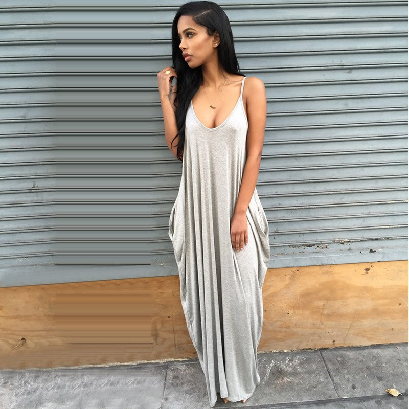 Backless Spaghetti Straps Scoop Long Beach Dress