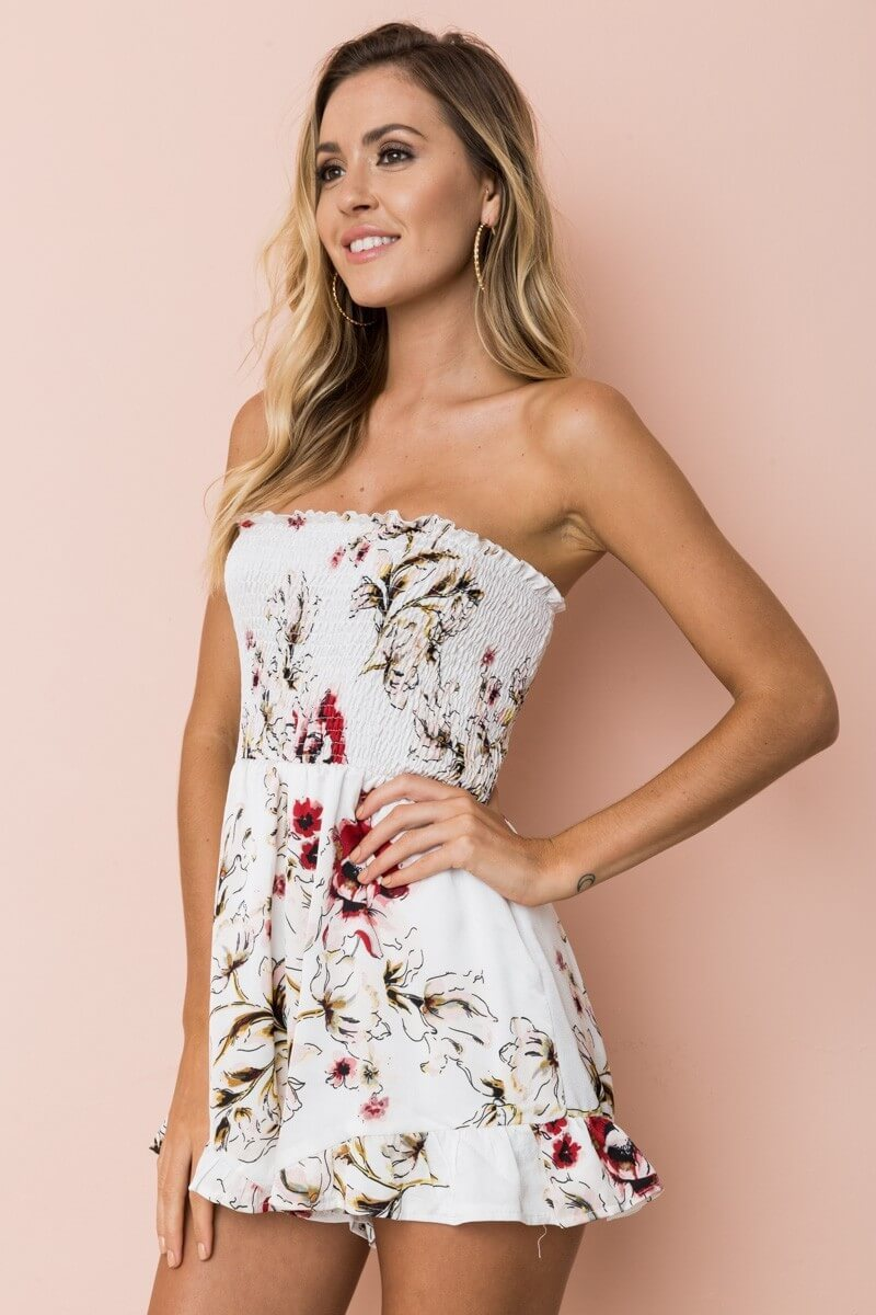 Flower Print Strapless Backless Short Jumpsuit