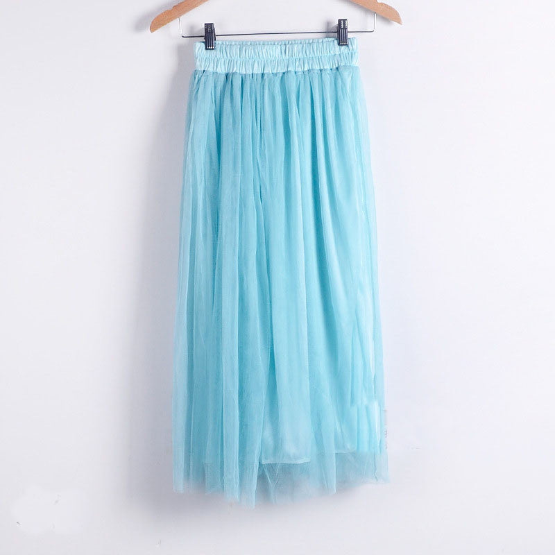 Double Layers Mesh Pleated Long Fluffy Beach Skirt - Oh Yours Fashion - 7