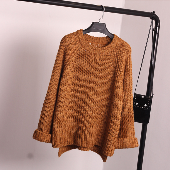 Korean Style Loose Spiit Knit Pullover Solid Color Sweater - Oh Yours Fashion - 4