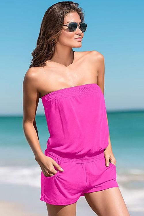 Candy Color Strapless Sleeveless Short Beach Jumpsuit