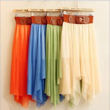 Chiffon Irregular Bohemian Flare Pleated Beach Middle Belt Skirt - Oh Yours Fashion - 3