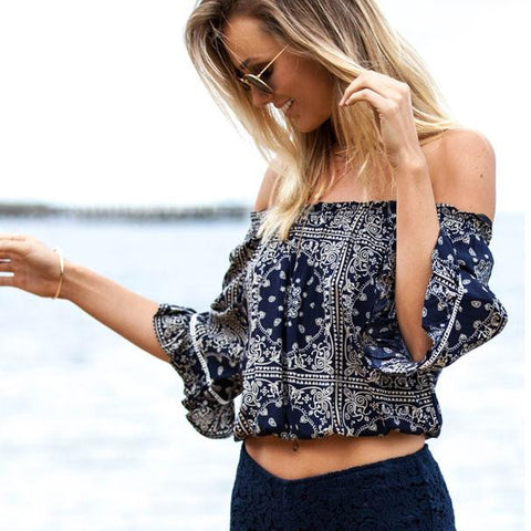 Strapless Off-Shoulder Flower Print Sexy Short Blouse