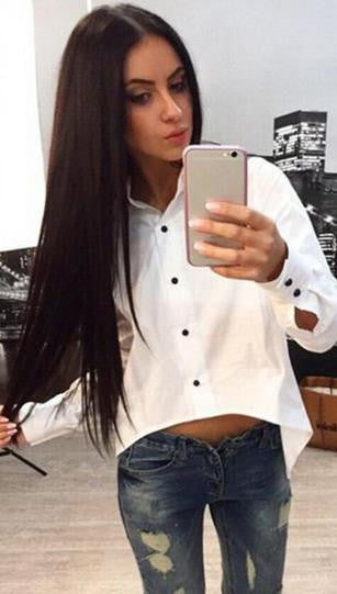 Irregular Split Pure Color Back Zipper Turn-down Collar Blouse - Oh Yours Fashion - 2