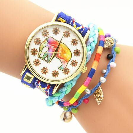 Elephant Print Colorful Strap Watch - Oh Yours Fashion - 4