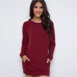 Simple Loose Scoop Long Sleeve Pocket Short Dress - Oh Yours Fashion - 1