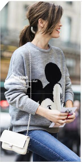 Mickey Print Fashion Scoop Long Sleeve Loose Students Sweater - Oh Yours Fashion - 2