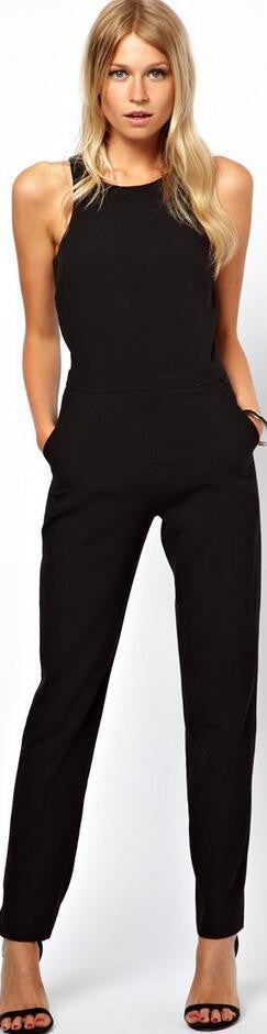 Black Scoop Sleeveless Hollow Out Back Long Jumpsuit - Oh Yours Fashion - 1