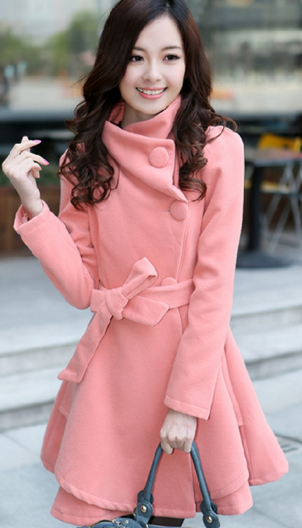 Stand Collar Belt Solid Cope Long Slim Coat - Oh Yours Fashion - 2
