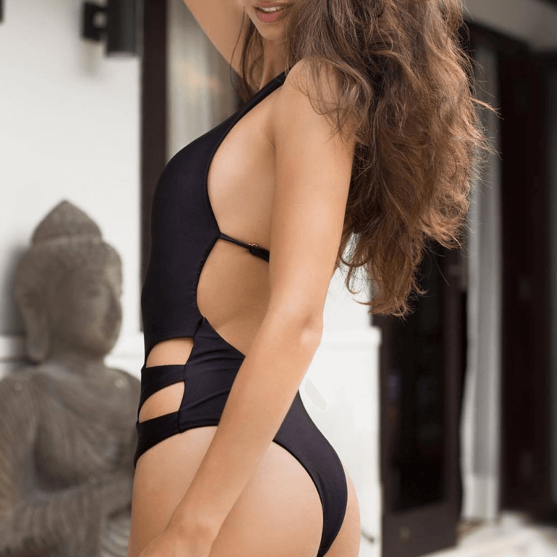 Halter Black V Neck Cutout Low Back High Cut Swimsuits