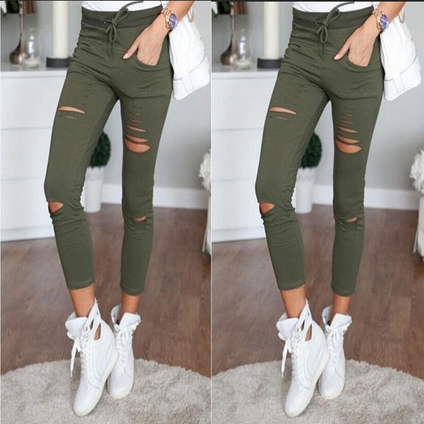 High Waist Ripped Hole Draw String Skinny Elastic 9/10 legging - Oh Yours Fashion - 1