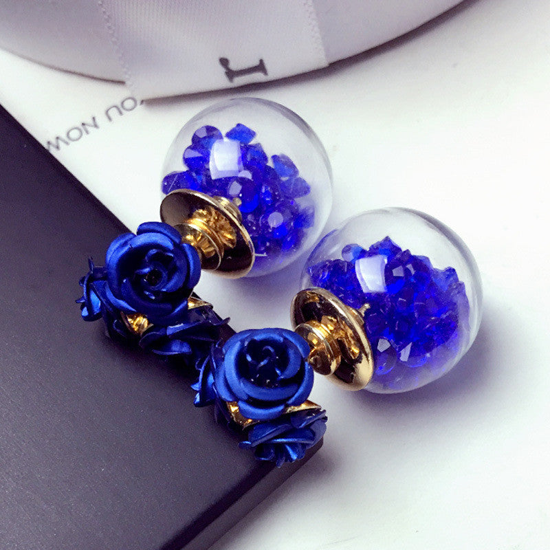 Rose Glass Crystal Ball Earring - Oh Yours Fashion - 9