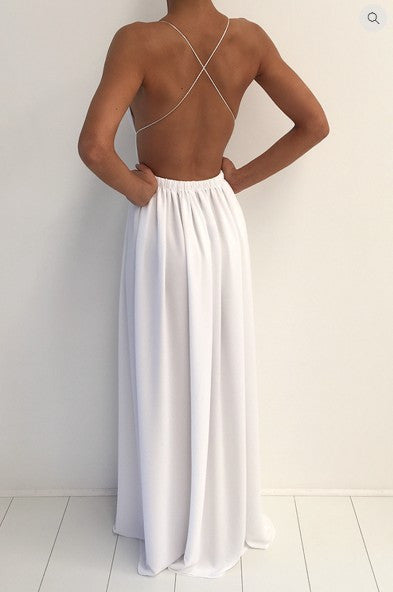 Spaghetti V-neck Backless Solid Color Long Dress - Oh Yours Fashion - 6