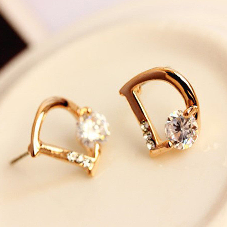 Crystal Letter D Golden Earrings - Oh Yours Fashion - 4