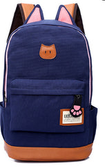 Cute Cat Ears Solid Color School Backpack Canvas Bag - Oh Yours Fashion - 3