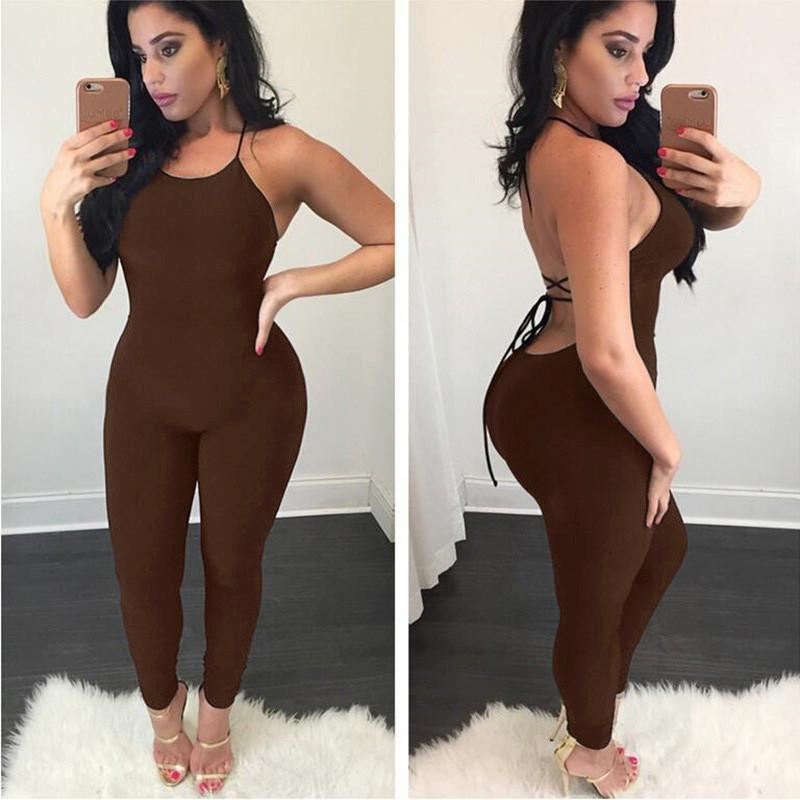 Backless Pure Color Lace Up Sleeveless Long Jumpsuit