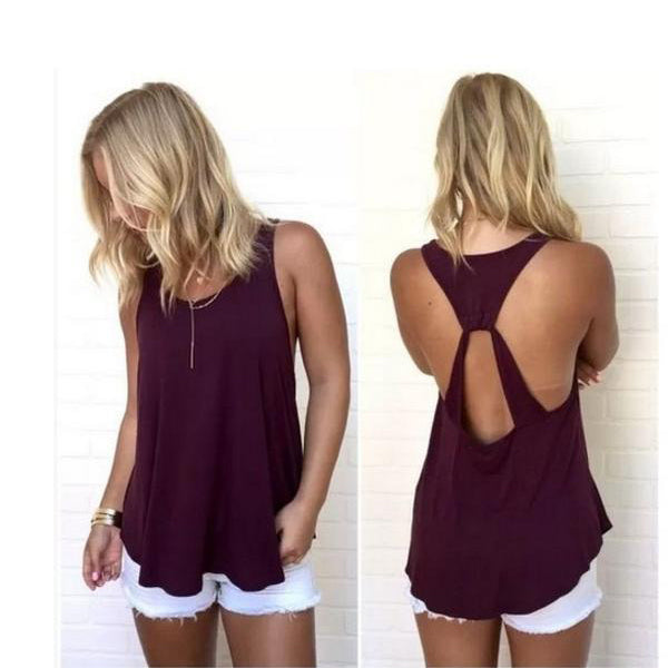 Scoop Sleeveless Backless Pure Color Backcross Blouse
