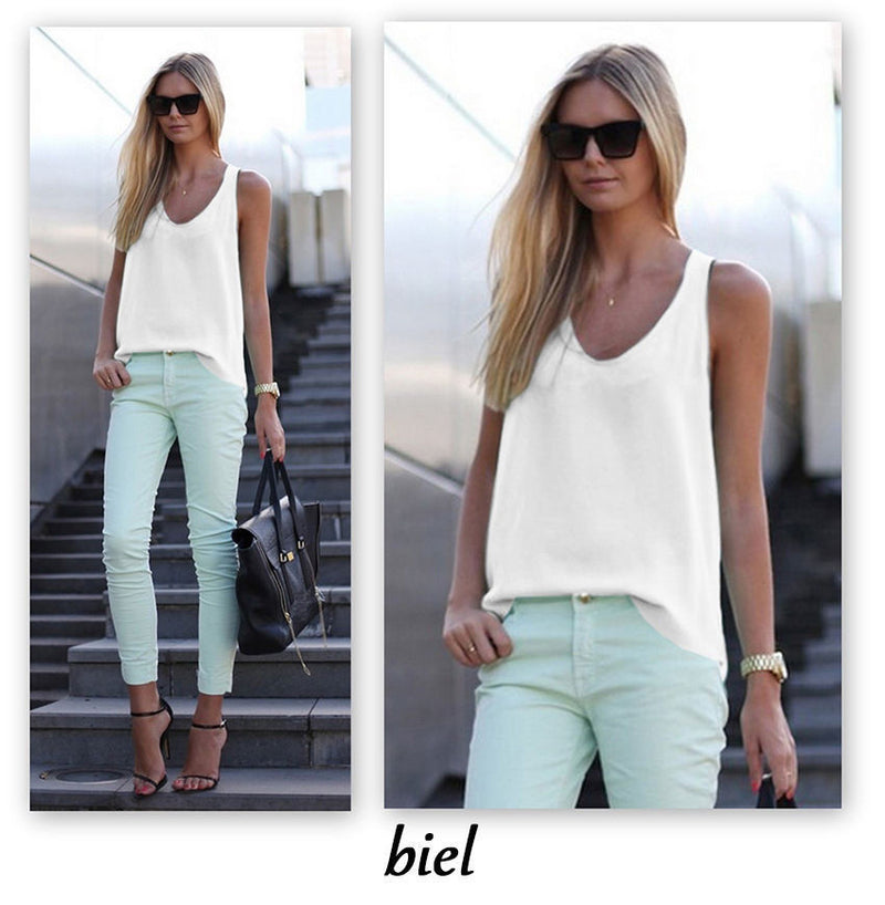 Pure Color Scoop Casual Sleeves Street Chic Vest - Oh Yours Fashion - 4