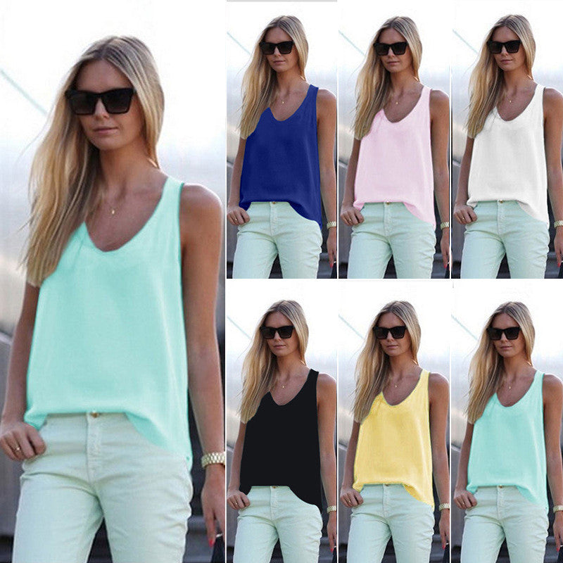 Pure Color Scoop Casual Sleeves Street Chic Vest - Oh Yours Fashion - 1