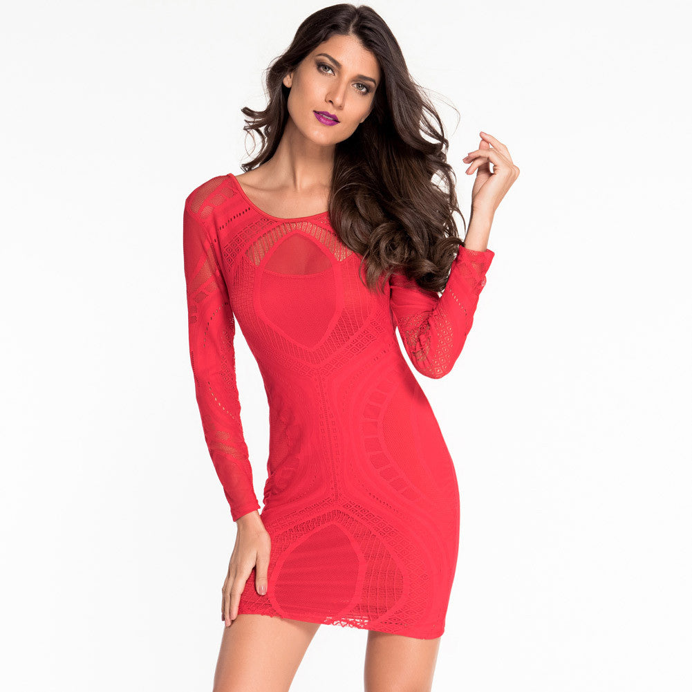 75b7e1add5ae Long Sleeves Scoop Mesh Patchwork Short Bodycon Dress – Oh Yours Fashion