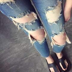 Beggar Holes Ripped Slim Low Waist Fashion Jeans - Oh Yours Fashion - 1