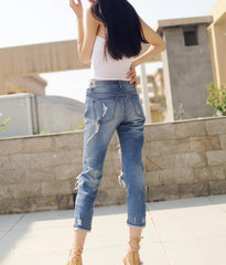 Beggar Holes Ripped Slim Low Waist Fashion Jeans - Oh Yours Fashion - 5