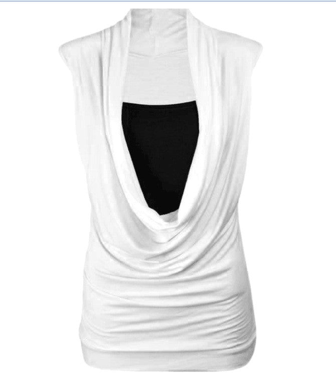 Two Pieces Drop Collar Sleeveless Casual Pure Color Blouse - Oh Yours Fashion - 8