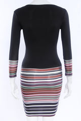 Black Stripe Print Long Sleeve V Neck Short Bodycon Dress - Oh Yours Fashion - 6