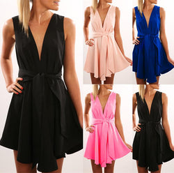 Open Back Sleeveless Solid V-neck Short High-waist Dresses - Meet Yours Fashion - 1