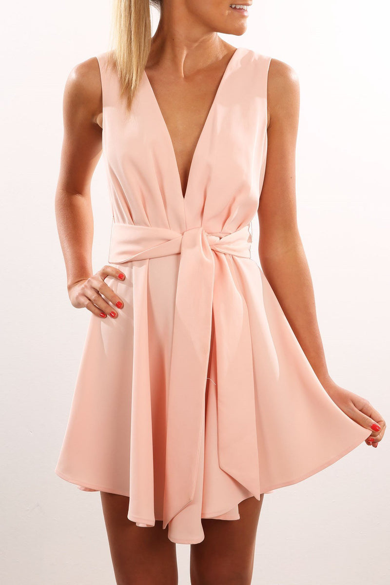 Open Back Sleeveless Solid V-neck Short High-waist Dresses - Meet Yours Fashion - 3