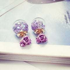 Flower Glass Ball Stars Quicksand Earring - Oh Yours Fashion - 5