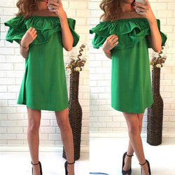 Off Shoulder Pure Color Short Sleeve Short Dress
