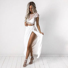 Three Pieces Lace Crop Top Slit Long Skirt Dress Set - Oh Yours Fashion - 1