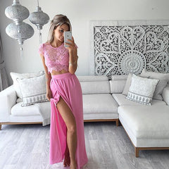 Three Pieces Lace Crop Top Slit Long Skirt Dress Set - Oh Yours Fashion - 3