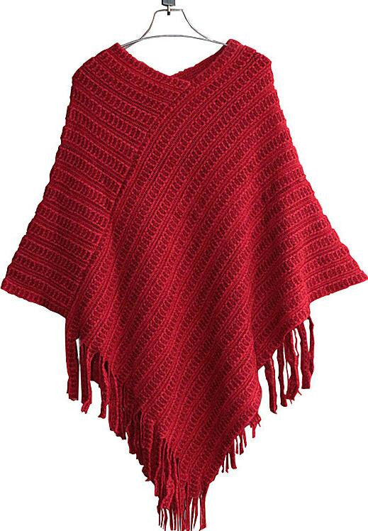 Tassel Shawl Loose Batwing Cloak Sweater - Oh Yours Fashion - 1