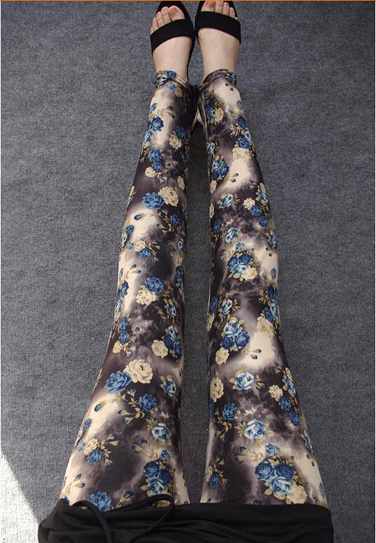 Plus Size Milk Silk Flower Print Thin Elastic Pants - Meet Yours Fashion - 6