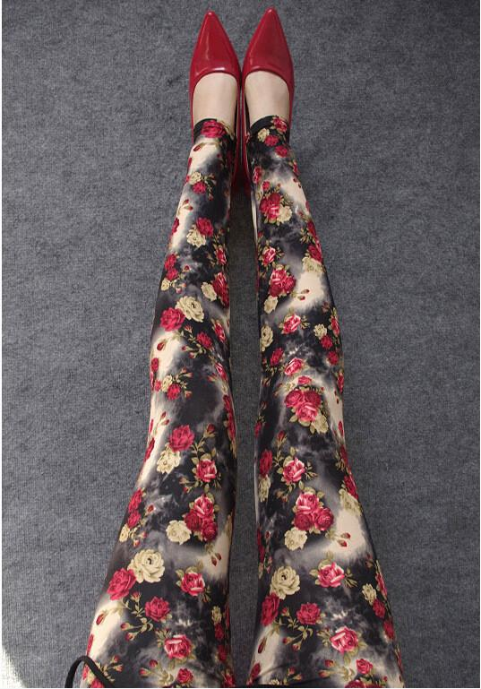 Plus Size Milk Silk Flower Print Thin Elastic Pants - Meet Yours Fashion - 5
