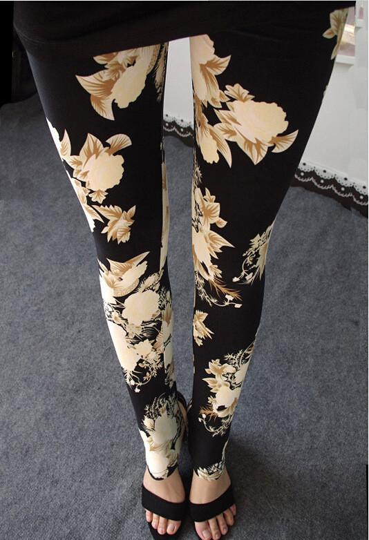 Plus Size Milk Silk Flower Print Thin Elastic Pants - Meet Yours Fashion - 3