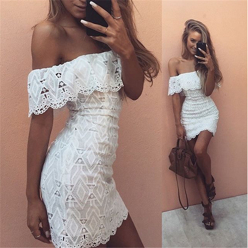 Off Shoulder Lace Hollow Sexy Short Dress - Oh Yours Fashion - 1