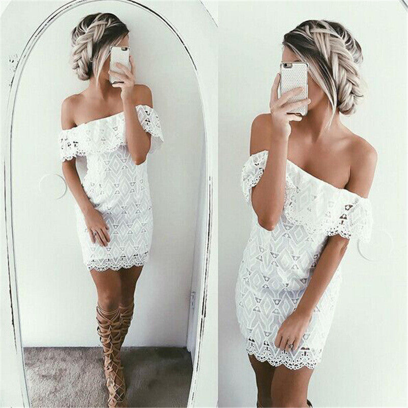 Off Shoulder Lace Hollow Sexy Short Dress - Oh Yours Fashion - 4