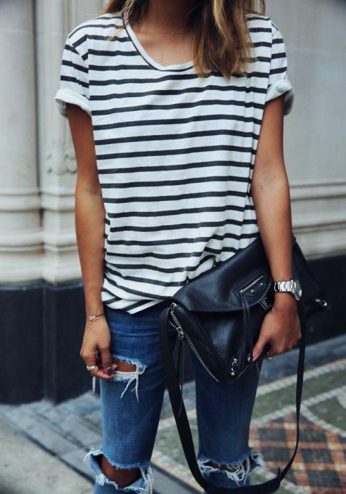 Striped Scoop Short Sleeves Casual Loose T-shirt - Meet Yours Fashion - 1