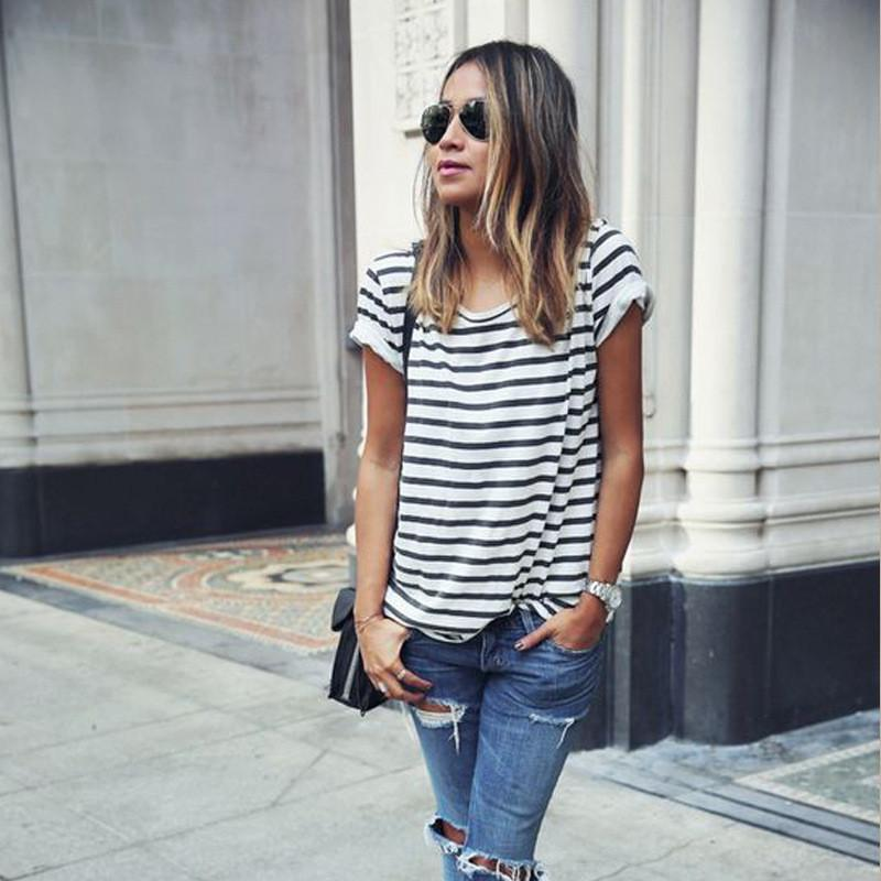 Striped Scoop Short Sleeves Casual Loose T-shirt - Meet Yours Fashion - 2