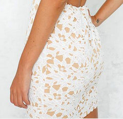 Hollow Out V Neck Lace Back Cross Short Bodycon Dress - Oh Yours Fashion - 7