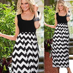 Striped Patchwork Scoop Long Beach Dress - Oh Yours Fashion - 1